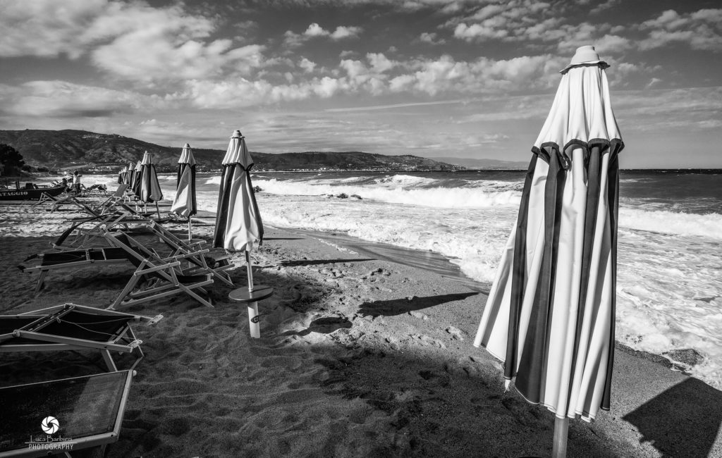 Soverato Beach in B&W